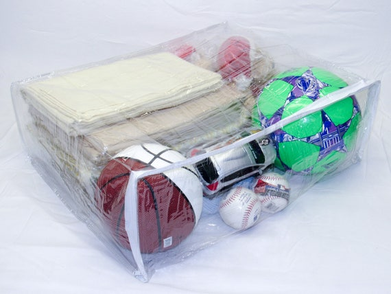 """Clear Heavy Duty Vinyl Zippered Closet Square Storage Bags 5-Pack 9/""""x11/""""x4/"""""""