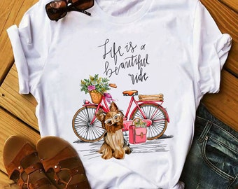 13c531003 Yorkie Dog Bike T-shirt, Women T-shirt