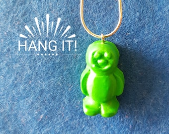 """Handmade Fimo Green Jelly Baby Necklace 22"""" Chain"""