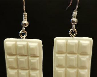 Handmade White Chocolate Bars Earrings