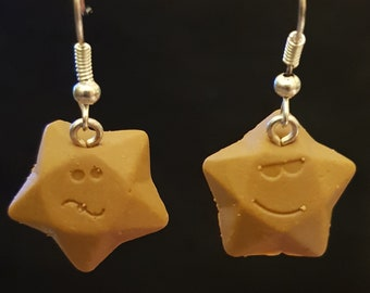 Handmade Fimo Chocolate Stars Earrings