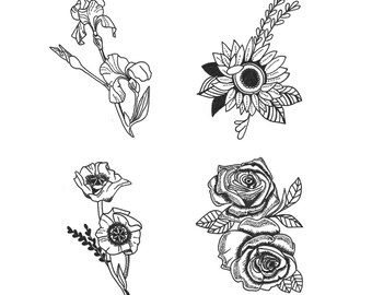 Small Flower Tattoo Etsy