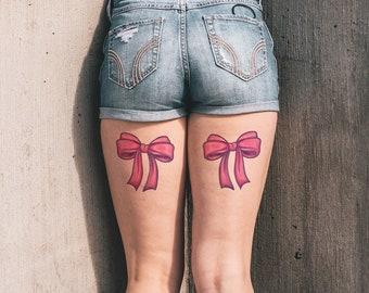 ef8e783ff Pink Bow Tie (Set of 2) - Sexy Tattoo / Thigh Temporary Tattoo / Pink Bow  Tie Temporary Tattoo / Girly Tattoo / Feminine Tattoo / Bowtie