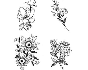 a83fb937bded4 Dainty Flower Set #4 (Set of 4) - Temporary Tattoo / Flower Temporary Tattoo  / Floral Temporary Tattoos / Small Tattoos / Dainty Tattoos