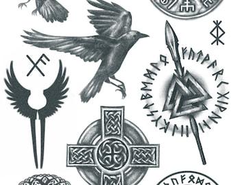 Viking Peace Symbol Set Of 2 Viking Symbol Tattoo Peace Etsy