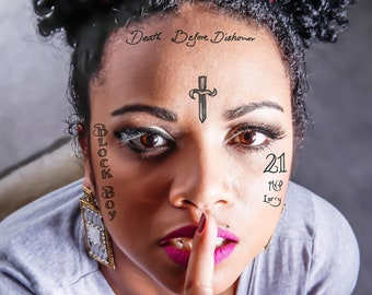 Xxxtentacion Temporary Tattoos Set Xxxtentacion Face Tattoos Etsy
