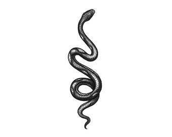 b758c60bd8408 Snake - Blackwork Temporary Tattoo / Snake Temporary Tattoo / Traditional Snake  Tattoo / Vintage Snake Tattoo / Old School Snake Tattoo