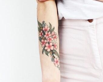 6337f8c97 Cherry Blossom - Temporary Tattoo / Cherry Blossom Temporary Tattoo /  Sakura Temporary Tattoo /Cherry Blossom /Cherry Blossom Tattoo/ Floral
