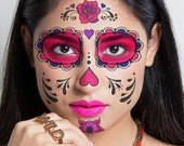 Sugar Skull Face Tattoo Set - Day of the Dead Temporary Tattoos Halloween Costume Day Of The Dead Sugar Skull Tattoos Halloween Tattoo