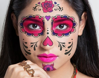 Details about  /Day of the Dead Temporary Face Tattoo Sheet Halloween Costume Make Up 197*160mm