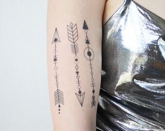 54afec702 Boho Arrows Tattoos (Set of 3) - Temporary Tattoo / Realistic Tattoo / Boho  Tattoo / Festival Tattoo /Arrows Temporary Tattoo /Coachella