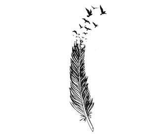 feather tattoo etsy