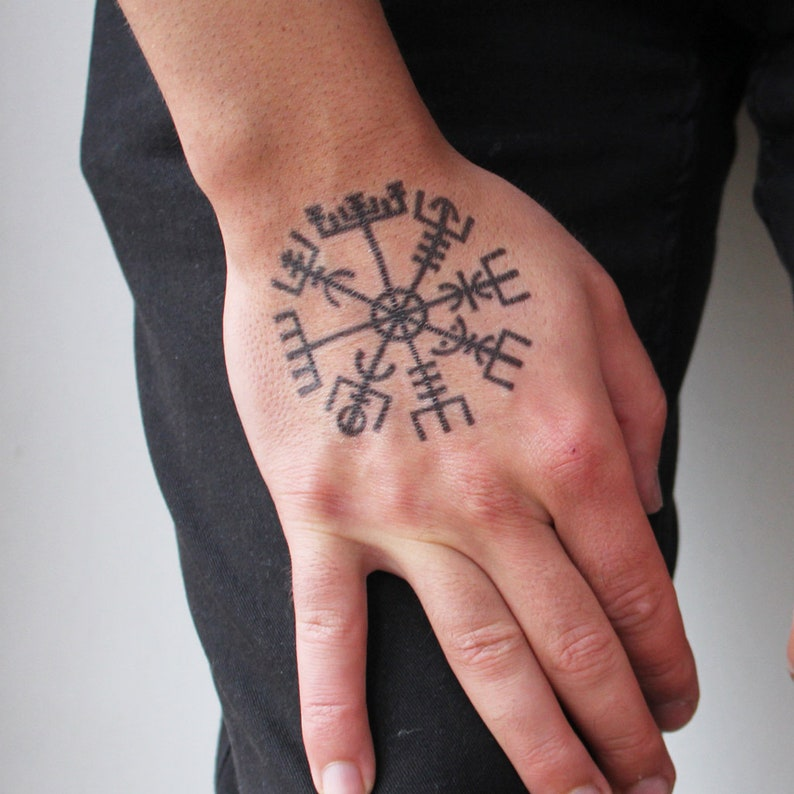 Vegvisir Symbol Tattoo Vegvisir Temporary Tattoo Norse Etsy