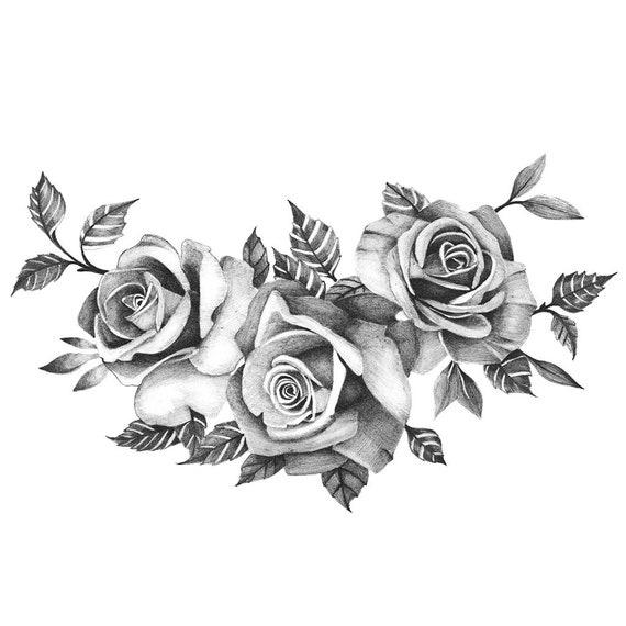 Three Beautiful Roses Temporary Tattoo Realistic Roses Etsy