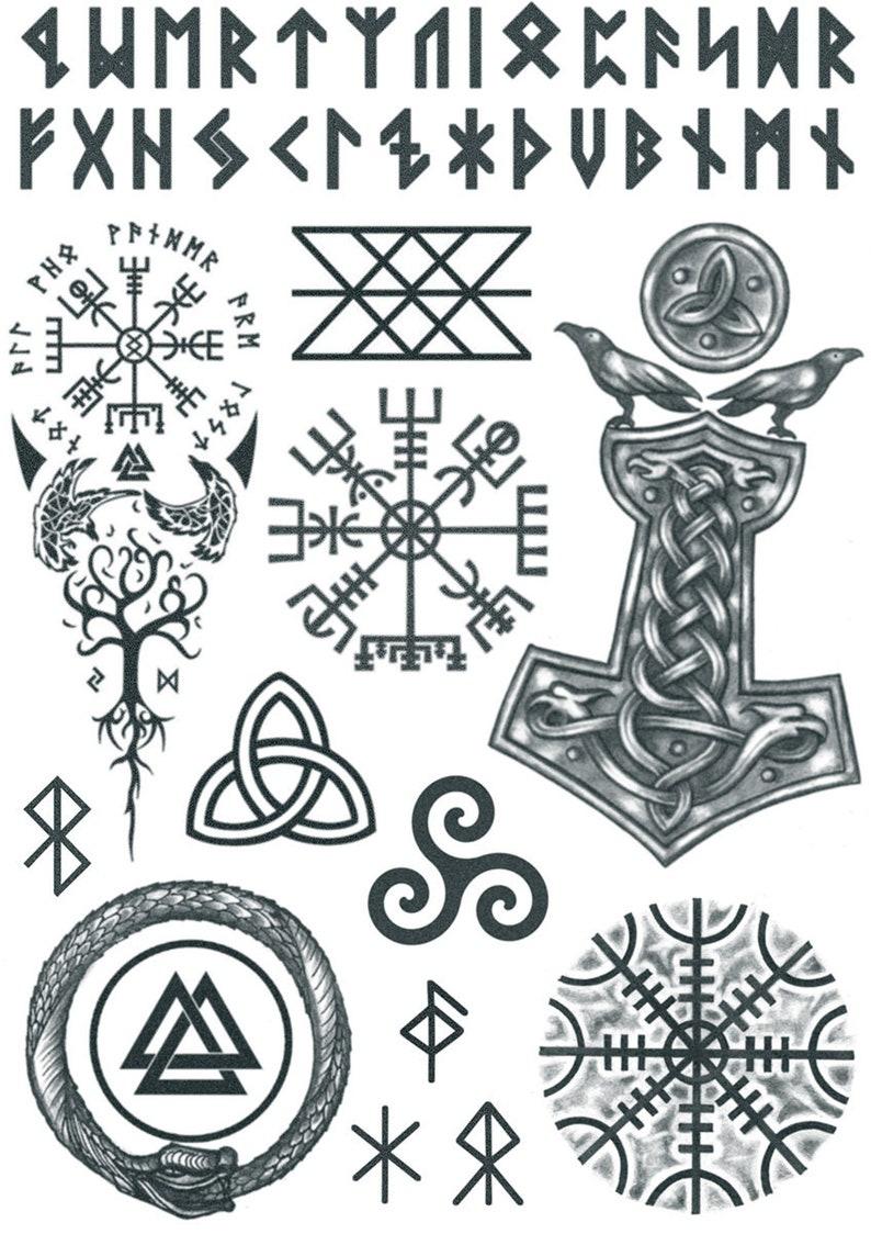 Viking Tattoo Set 2 Norse Tattoos Viking Temporary Tattoo Etsy