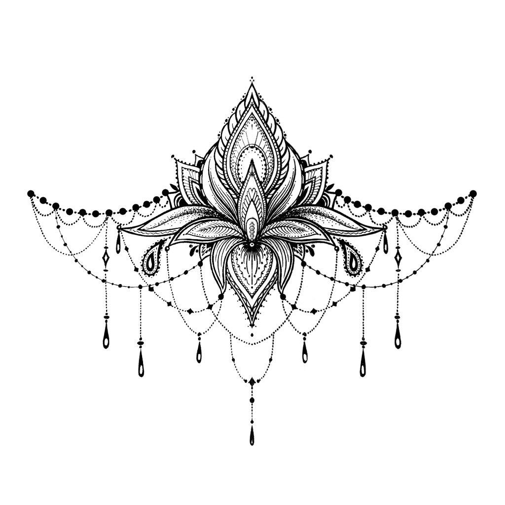 Henna Tattoo Designs Under Breast: Lotus Underboob Tattoo Lotus Sternum Temporary Tattoo /