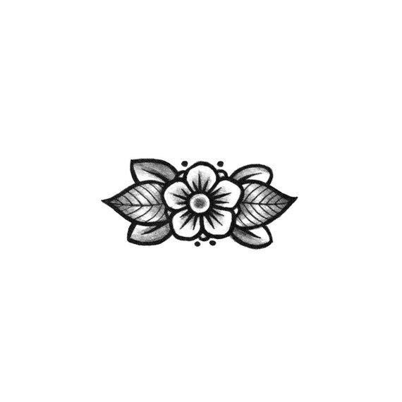 8a60f9ccf25d2 Small Floral Ornament Floral Blackwork Temporary Tattoo / | Etsy
