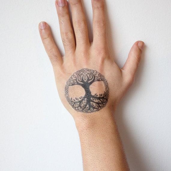 Yggdrasil Symbol Tattoo Yggdrasil Temporary Tattoo Viking Etsy