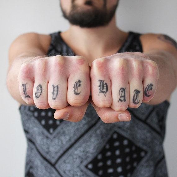 Knuckles Lettre Ancienne Lot De 6 Tatouage Temporaire Etsy