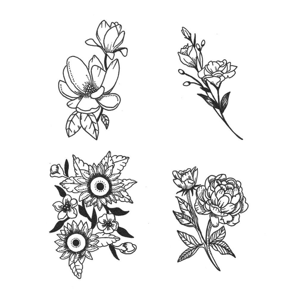Small Flower Henna Tattoo: Spring Flower Set Set Of 4 Temporary Tattoo / Flower