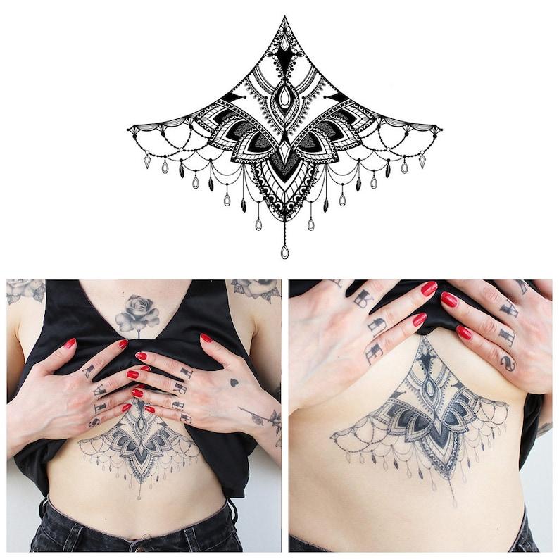 4f8c617ba Large Underboob Sternum Geometric Temporary Tattoo / Sternum | Etsy