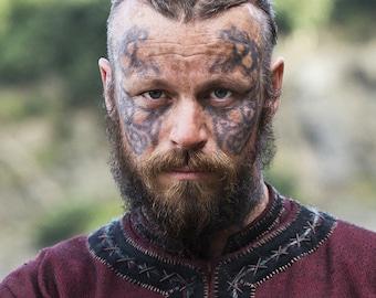 King Harald Vikings Inspired Temporary Tattoo Set - Harald Finehair Tattoos / Harald Temporary Tattoo / Harald Halloween Costume / Vikings