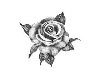 Pretty Rose - Temporary Tattoo / Rose Temporary Tattoo / Black Rose Tattoo / Realistic Rose Tattoo / Floral Temporary Tattoo / Fake Tattoo