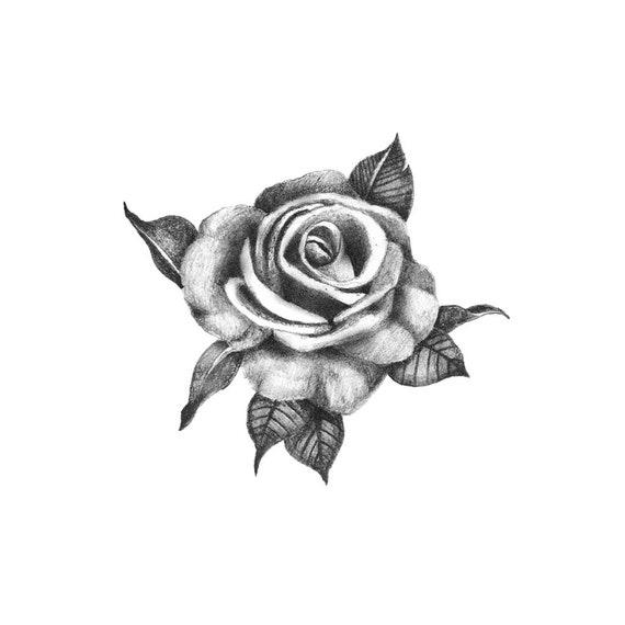 Mooi Rose Tijdelijke Tatouage Steeg Tatouage Black Rose Etsy