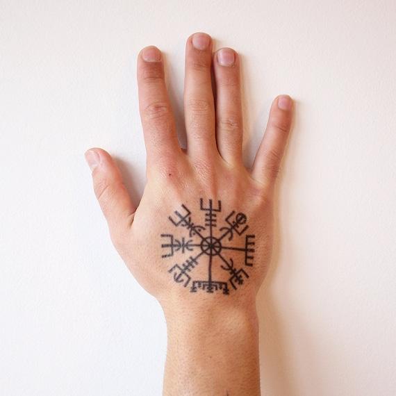Vegvisir Symbol Tattoo Vegvisir Tymczasowy Tatuażnorse Tattoovigvisir Tymczasowy Tatuażviking Tattoorunic Tattoomitologia