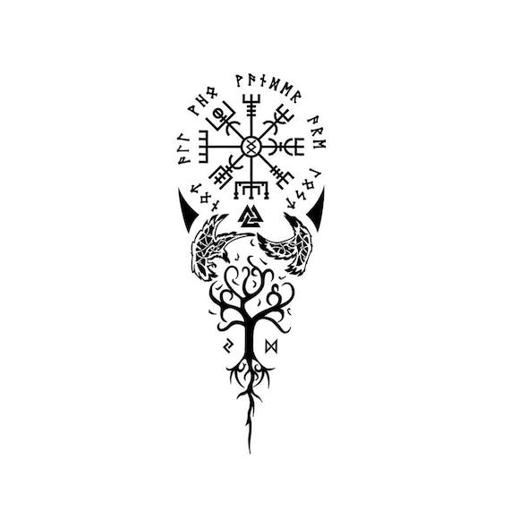 info pour 357fd ead4e Vegvísir and Yggdrasil - Temporary Tattoo / Vegvisir Temporary Tattoo /  Yggdrasil Temporary Tattoo / Norse Tattoo / Viking Tattoo /Mythology