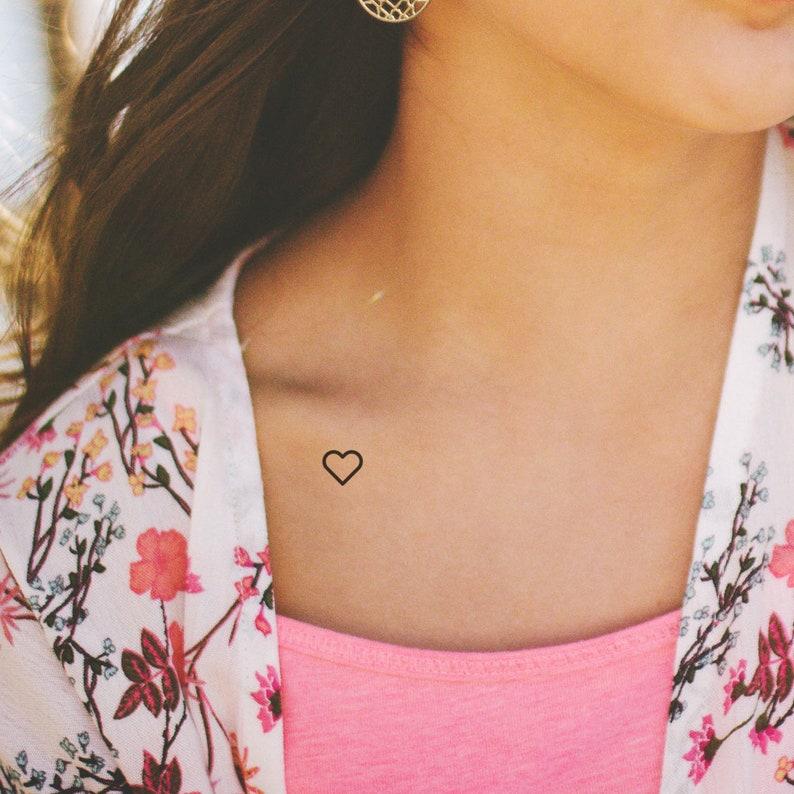 76bd36f9b Heart Outline Temporary Tattoo Set of 3 Temporary Tattoo / | Etsy