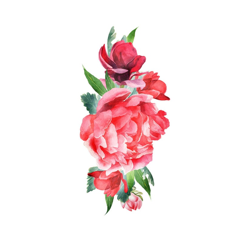 Red Watercolor Flowers Rose Watercolor Temporary Tattoo Etsy