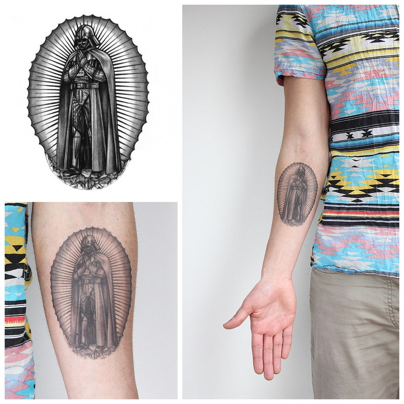 53b2a72e4 Vader of Guadalupe Temporary Tattoo / Realistic Temporary | Etsy