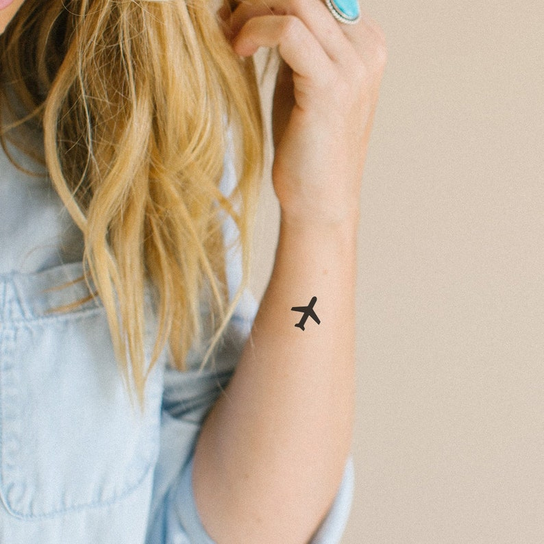 3daaf81701f66 Airplane Temporary Tattoo Set of 2 Plane Temporary Tattoo | Etsy