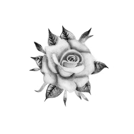 Elegant Rose Temporary Tattoo Realistic Rose Tattoo Rose Etsy