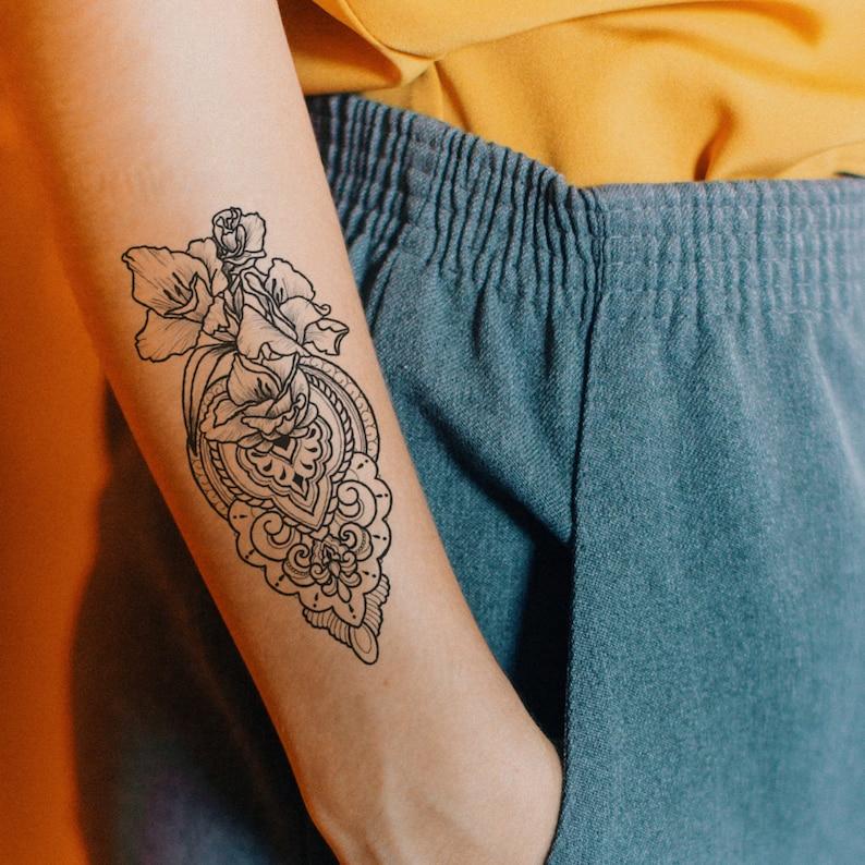 Boho Ornament Temporary Tattoo Fake Tattoo Ornament Tattoo Etsy