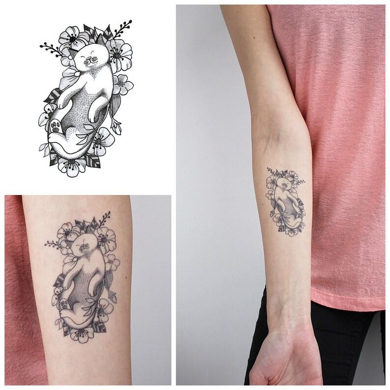 śpiący Kot Kot Tymczasowy Tatuażkot Tatuażśpiący Kot Tatuażkwiat Kot Tatuażśpioch Tattoocat Lovers Tattoo