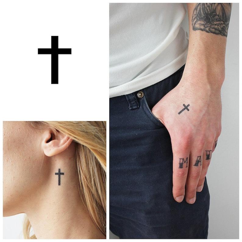 Small Cross Set Of 4 Temporary Tattoo Small Cross Etsy