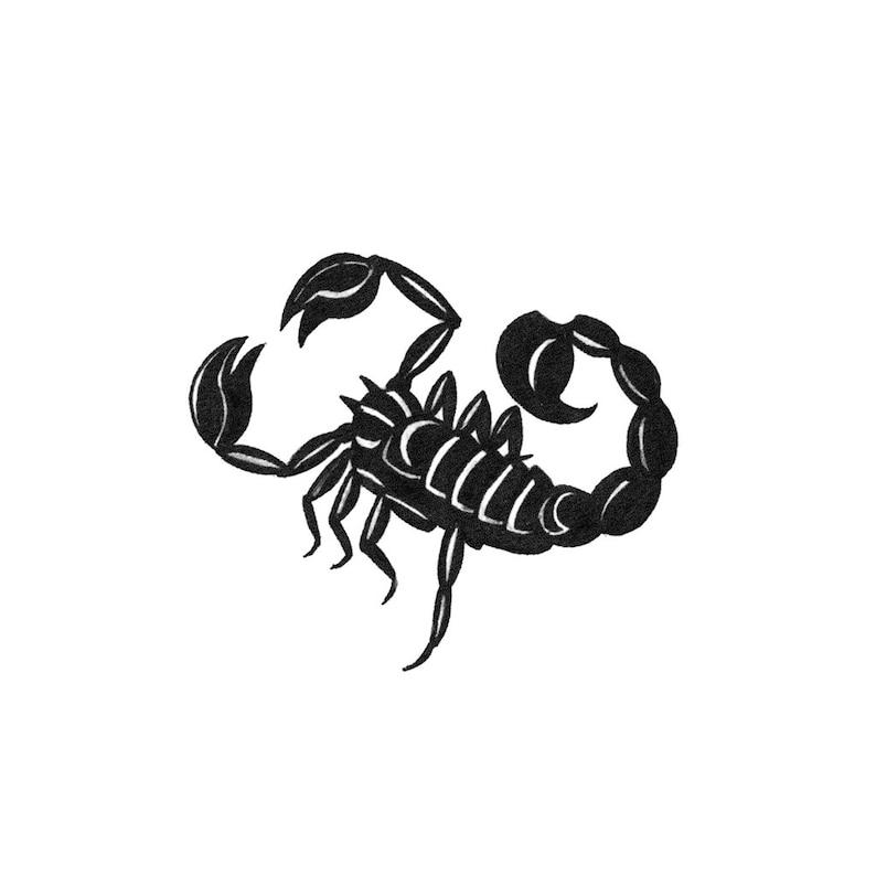 Blackwork Scorpion Scorpion Temporary Tattoo Blackwork Etsy