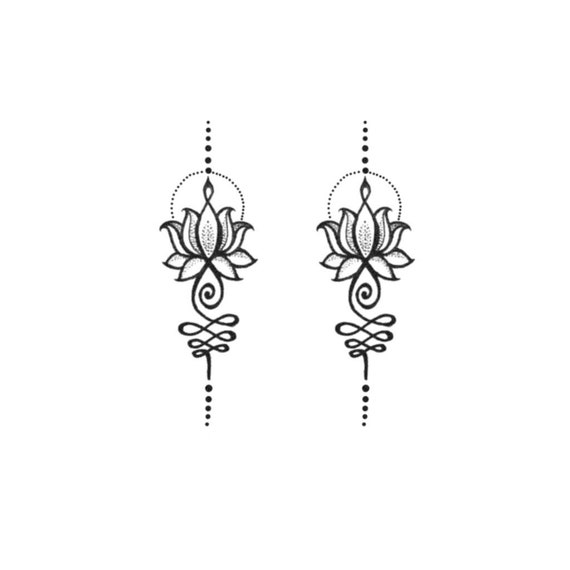 Unalome Lotus Set Of 2 Small Unalome Tattoo Lotus Tattoo Unalome Lotus Temporary Tattoo Feminine Tattoo Geometric Unalome Lotus