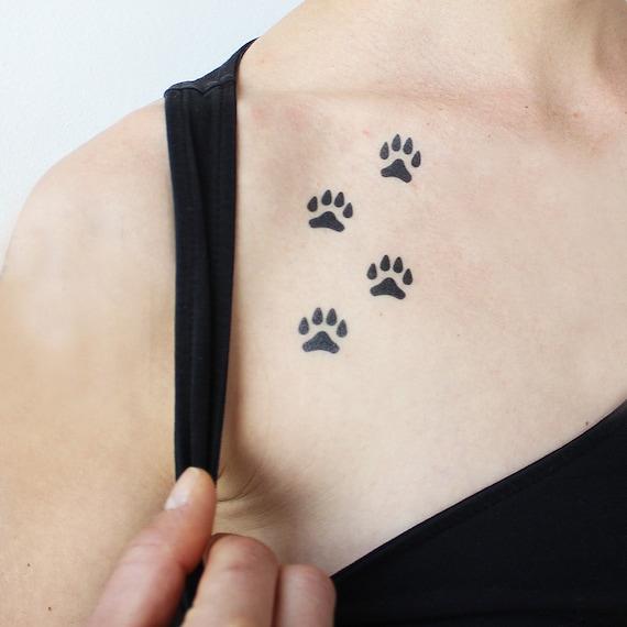 Chien Et Chiot Pattes Lot De 16 Tatouage Temporaire Etsy