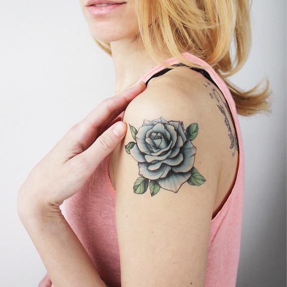 bleu vintage rose temporaire tattoo / tatouage rose / plus | etsy