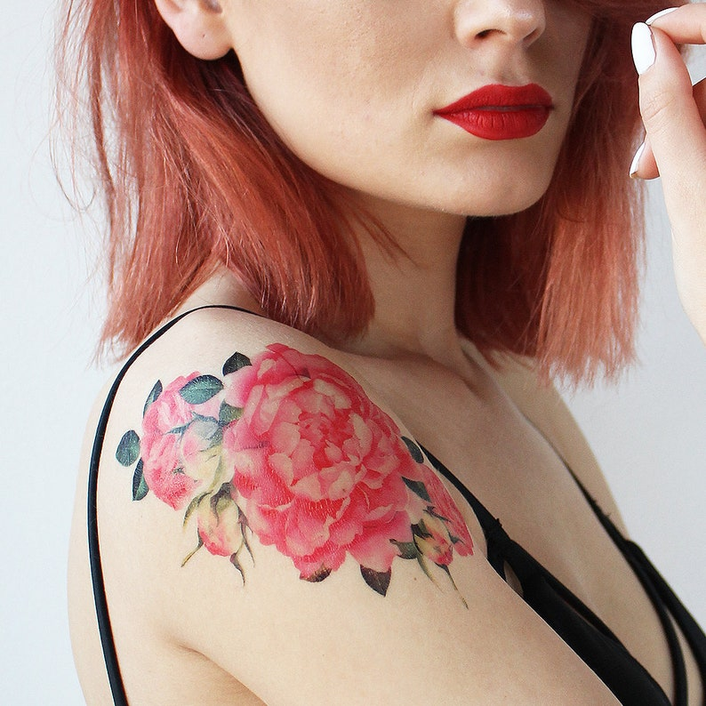 Floral Vintage Rose Watercolor Tattoo Rose Watercolor Tattoo Etsy