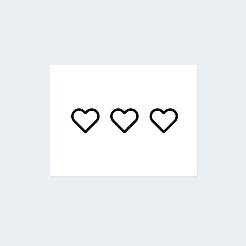 76bd36f9b Heart Outline Temporary Tattoo Set of 3 Temporary Tattoo /   Etsy