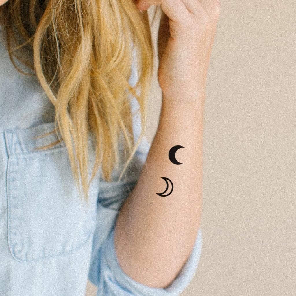 Crescent Moon Temporary Tattoo Set Of 2 Moon Tattoo Etsy
