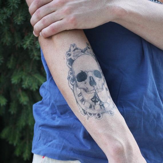 Temps Est En Tete De Mort Tatouage Temporaire Tattoo Skull Etsy