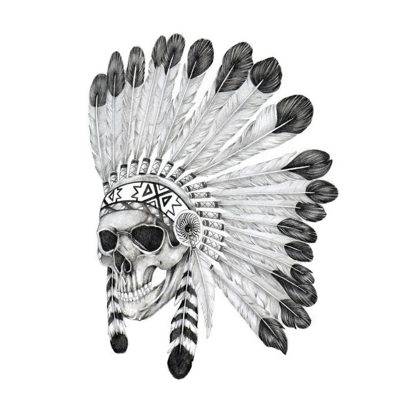 61f3feae21282 Indian Warchief Temporary Tattoo / Skull Tattoo / Fake Skull | Etsy