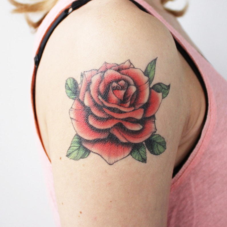 Red Vintage Rose Temporary Tattoo Rose Tattoo Red Rose Etsy