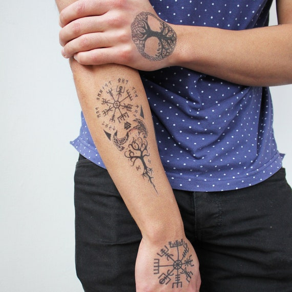 Vegvisir And Yggdrasil Temporary Tattoo Vegvisir Temporary Etsy