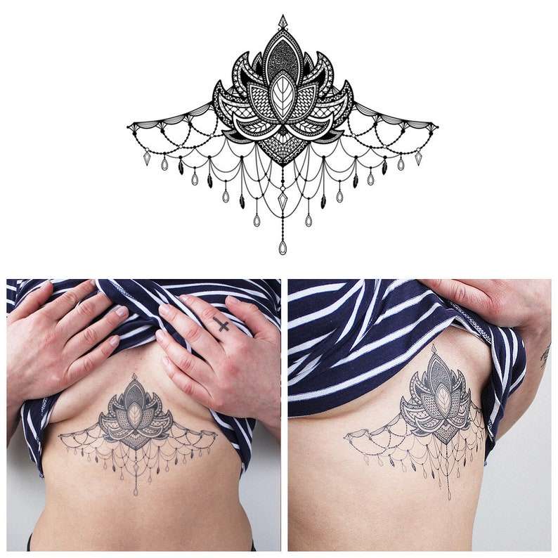 Large Underboob Sternum Flower Temporary Tattoo Sternum Etsy
